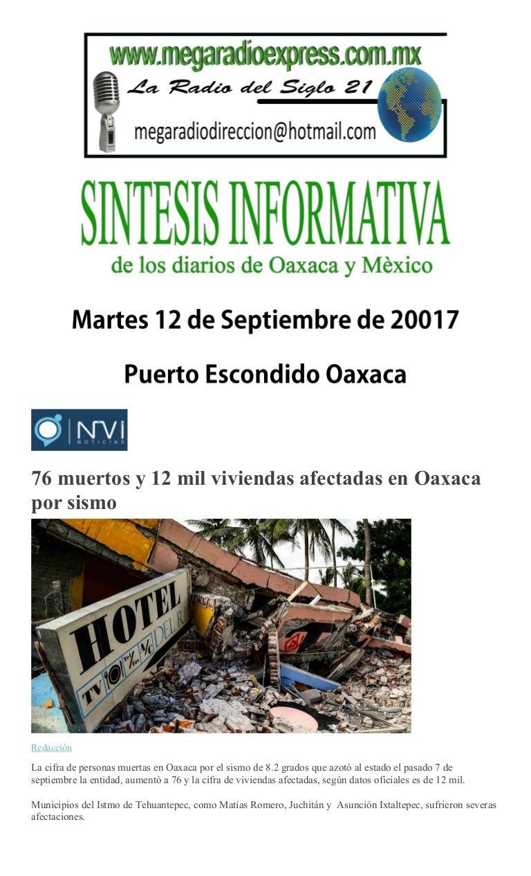 Sintesis informativa 12 09 2017