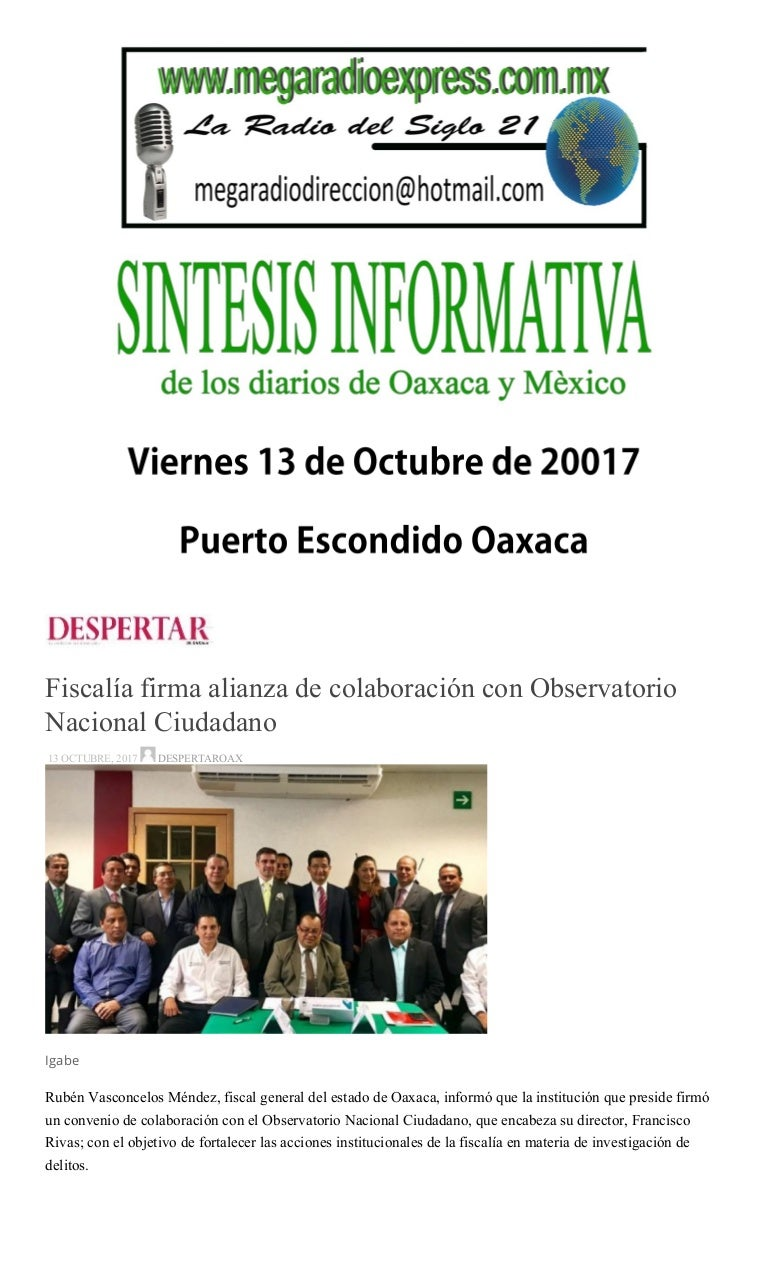 Sintesis informativa 13 octubre 2017