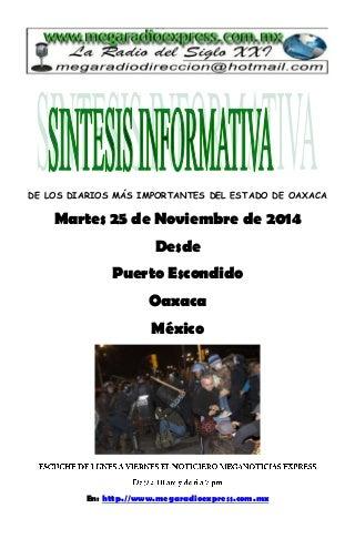 Sintesis informativa 25 de noviembre 2014