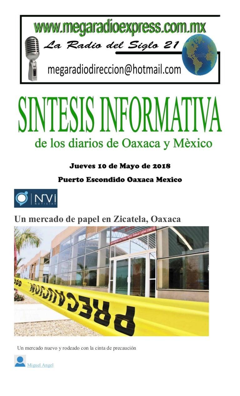 Sintesis informativa jueves 10 de mayo de 2018