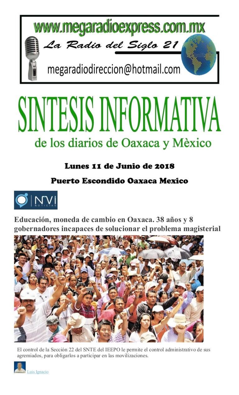 Aureolas Gigantes sintesis informativa lunes 11 de junio de 2018