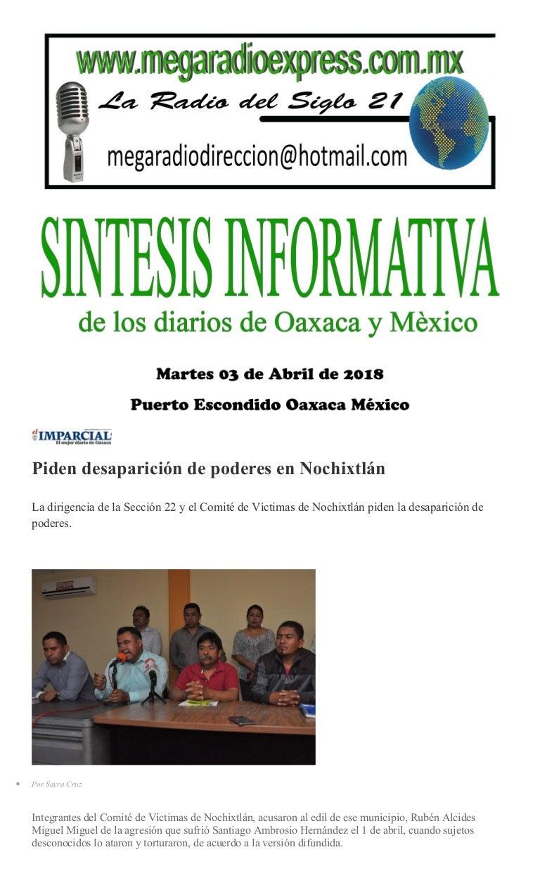 Sintesis informativa martes 03 de abril de 2018