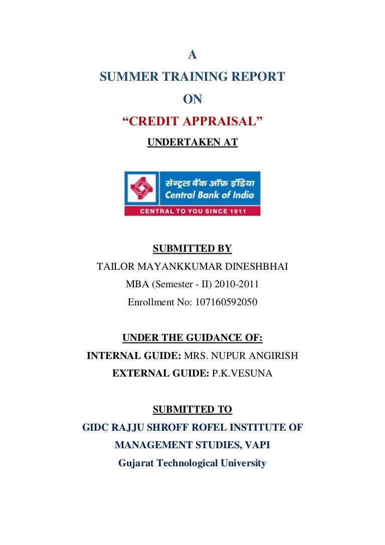 Credit Appraisal At Central Bank Of India