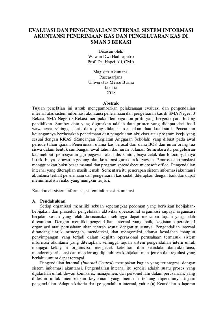 Si Pi Uas Wawan Dwi H Hapzi Ali Evaluasi Dan Pengendalian Interna