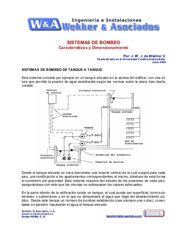 Sistemas de bombeo for Diferencia entre tanque y estanque