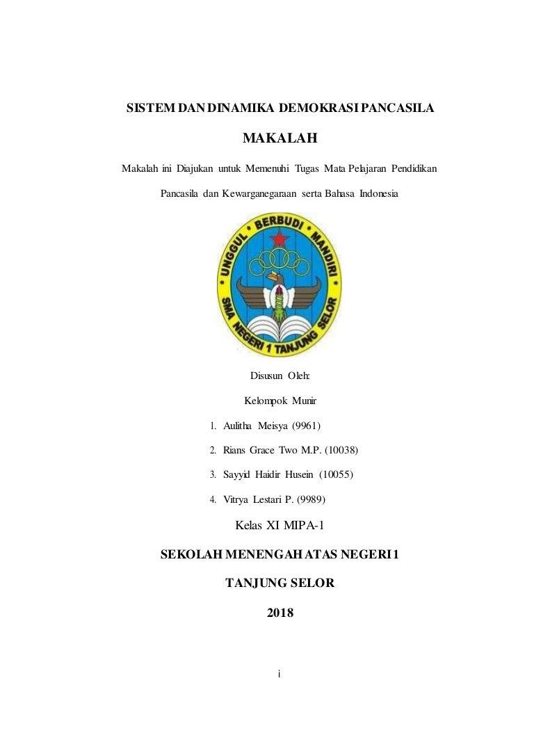Sistem Dan Dinamika Demokrasi Pancasila Doc Pdf Download Contoh Makalah Lengkap