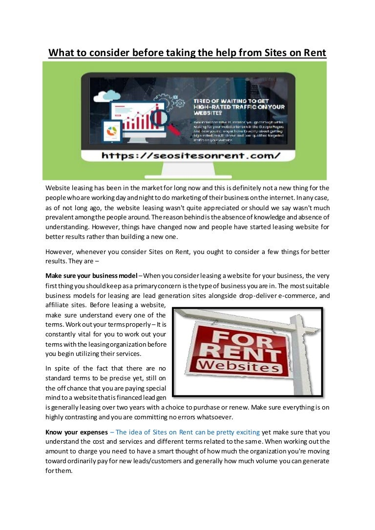 what to consider before taking the help from sites on rent