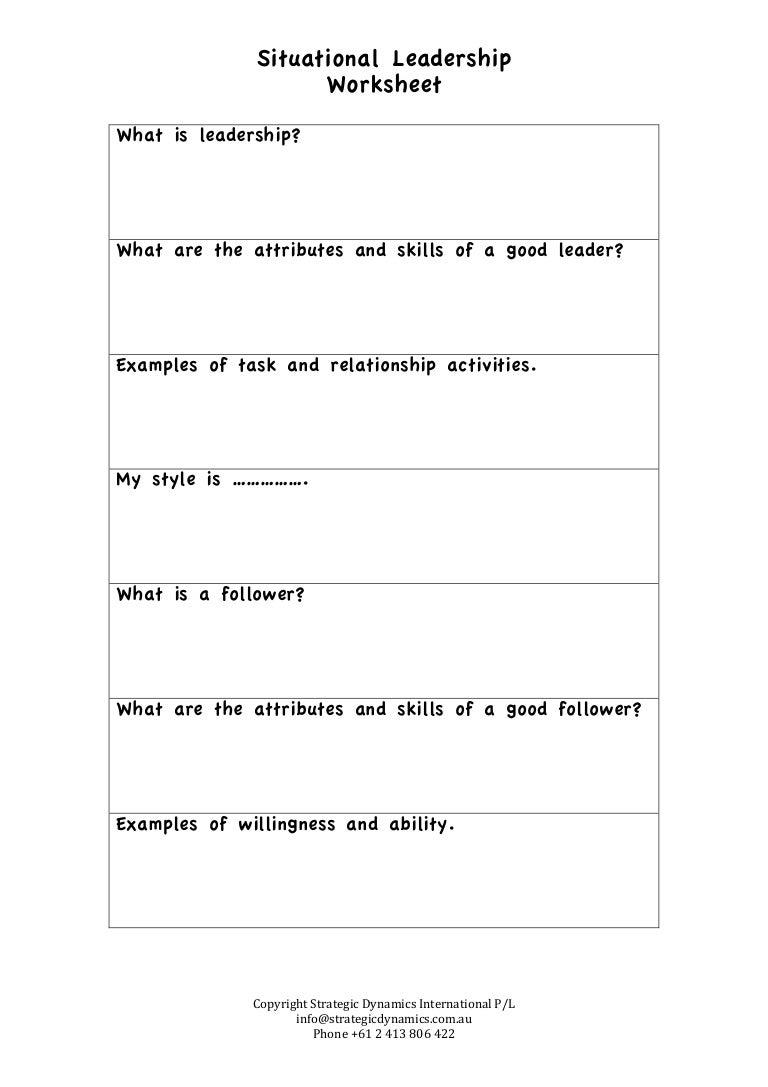 Worksheets Leadership Worksheets leadership worksheet samsungblueearth