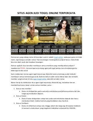 Situs Agen Togel Online Terpercaya Berikan Keuntungan