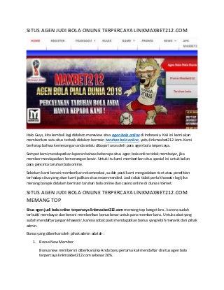 Situs agen judi bola online terpercaya linkmaxbet212