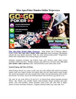 Situs Agen Poker Domino Online Terpercaya - Gogopoker99