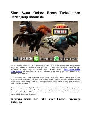 Situs ayam online bonus terbaik dan terlengkap indonesia