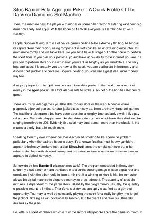 Situs Bandar Bola Agen judi Poker - A Quick Profile Of The Da Vinci Diamonds Slot Machine