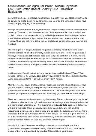 Situs Bandar Bola Agen judi Poker - Suzuki Hayabusa Gsx1300r Crotch Rocket - Activity Bike - Motorbike - Evaluation