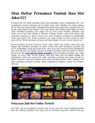Situs daftar permainan tembak ikan slot joker123