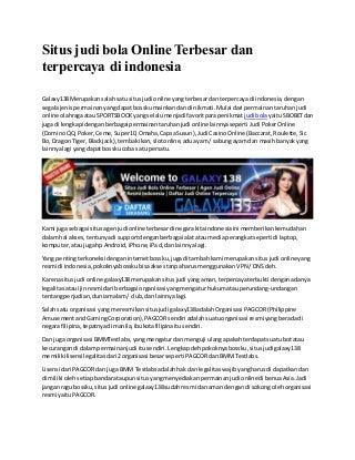 Situs judi bola online terbesar dan terpercaya di indonesia