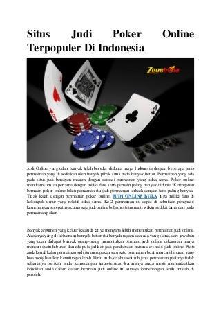 Situs judi poker online terpopuler di indonesia