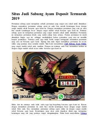 Situs judi sabung ayam deposit termurah 2019