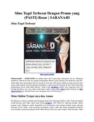 Situs Togel Terbesar dengan Promo - SARANA4D