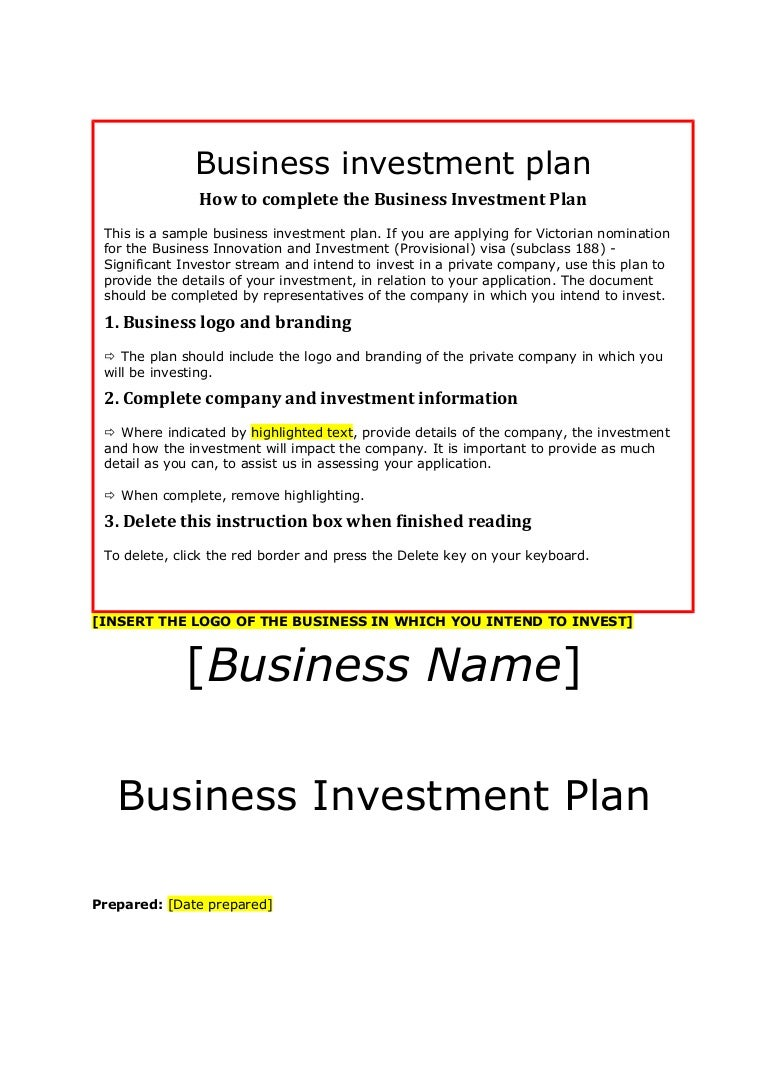 Siv business-investment-plan-template