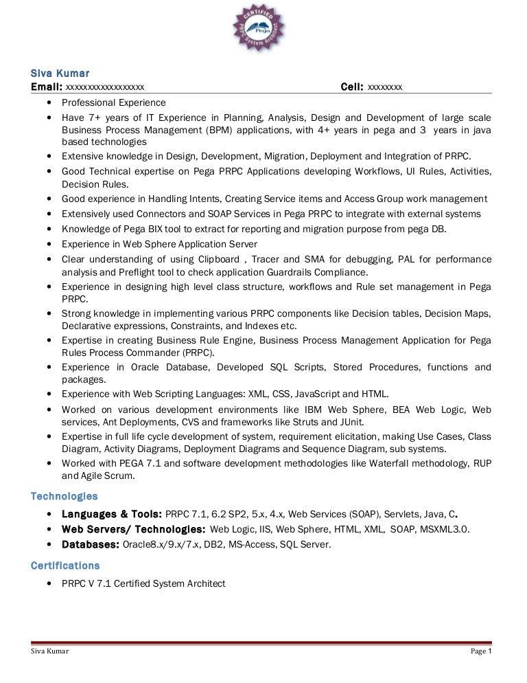 pega sample resume