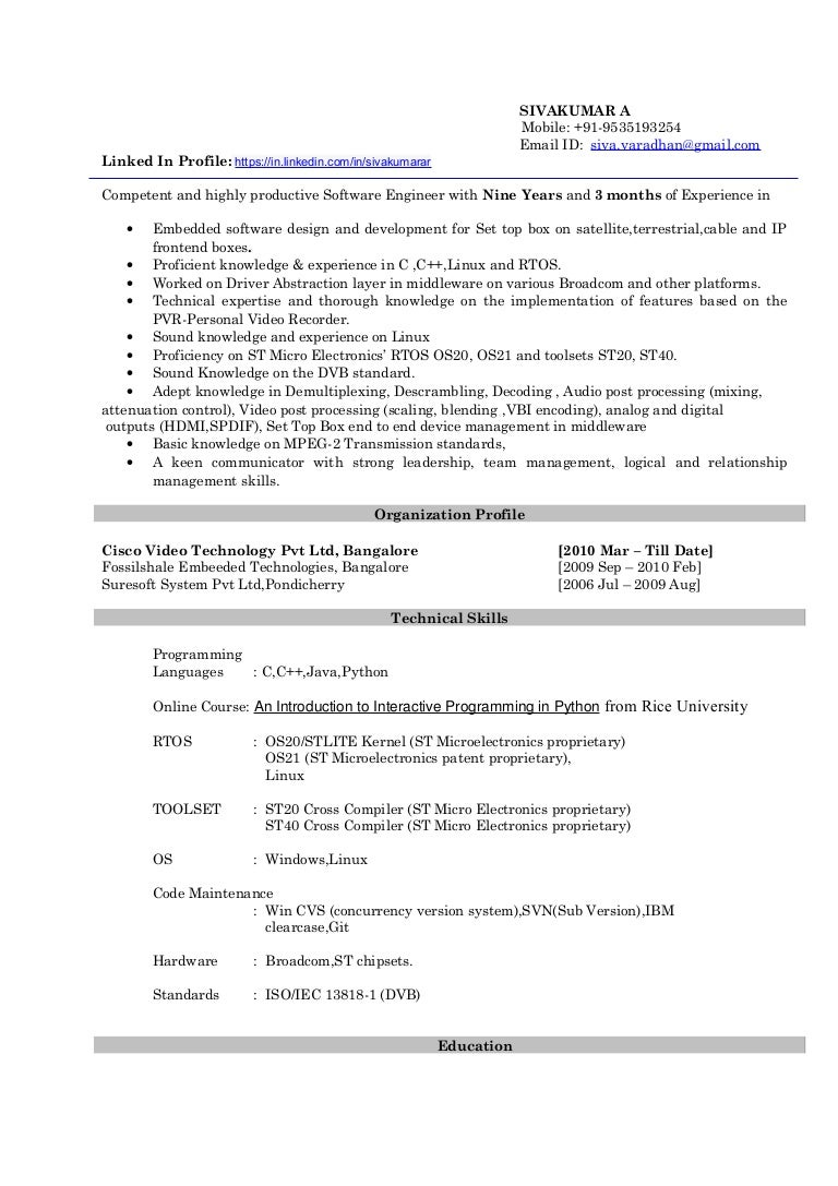 sivakumar resume stb embedded c linux pvr 9 years