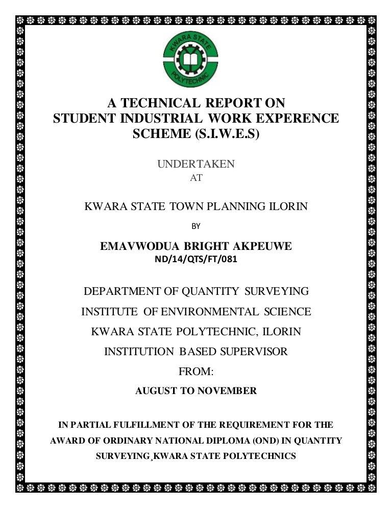 SIWES REPORT PDF