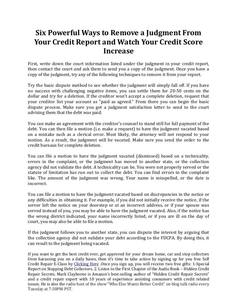 Six powerful ways to remove a judgment from your credit report and wa ccuart Choice Image