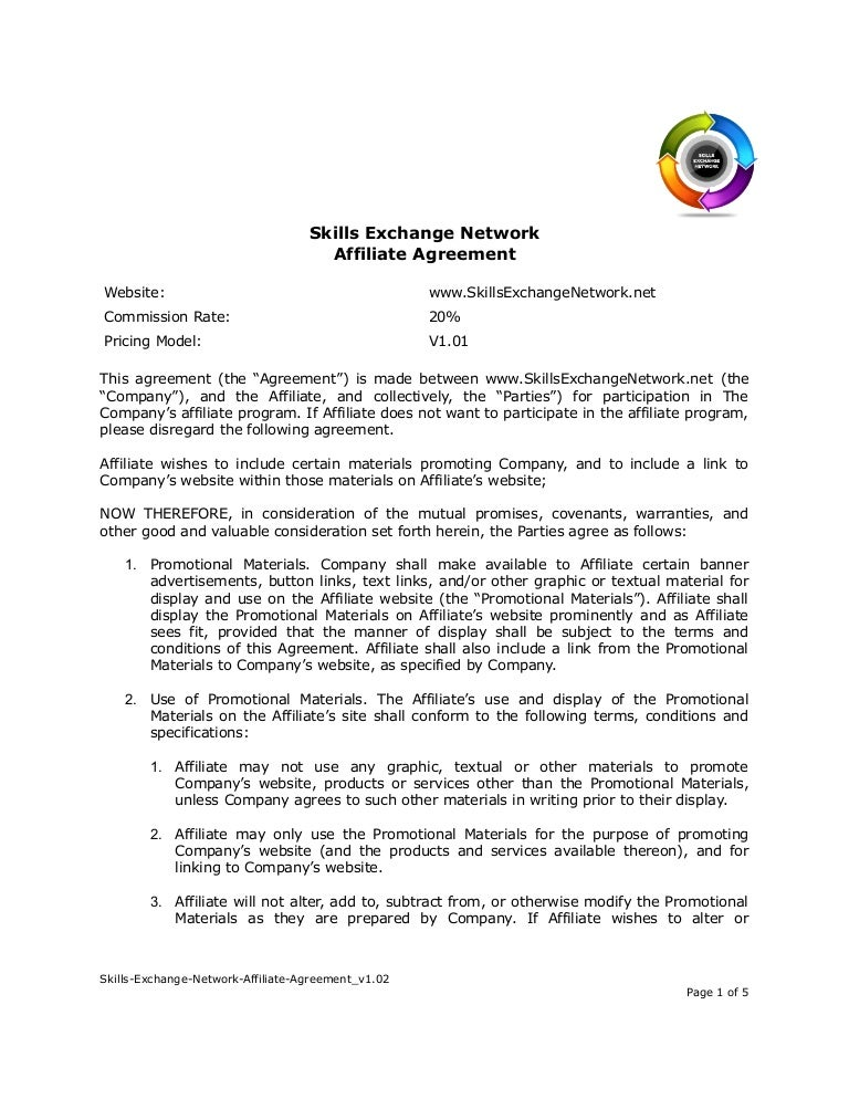 Skills Exchange Network Affiliate Agreement V1.02