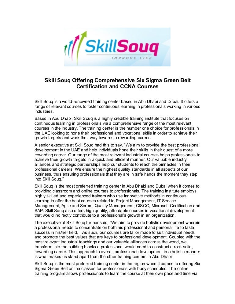 Skill Souq Offering Comprehensive Six Sigma Green Belt Certification