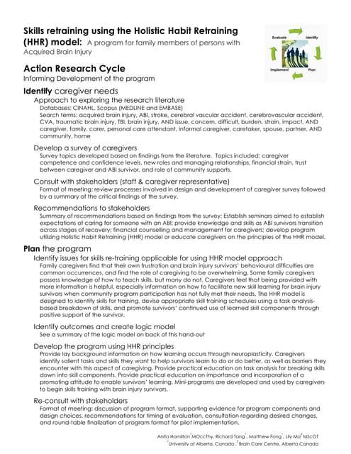 Skills retraining using the HHR model (handout).