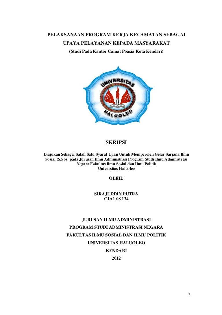 Skripsi Pelaksanaan Program Kerja Kecamatan Sebagai Upaya Pelayanan