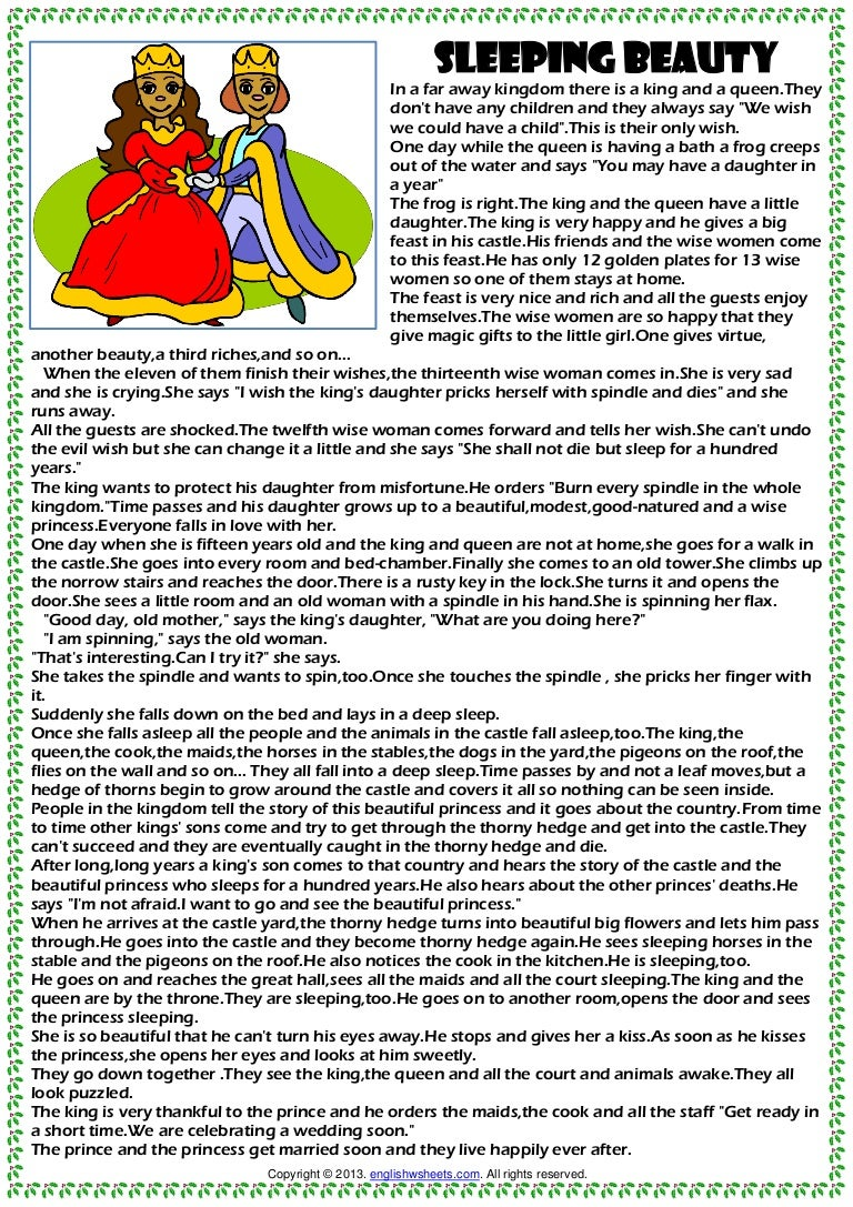 photo regarding Printable Fairy Tales Pdf referred to as Sleeping attractiveness basic Supply annoying fairy story