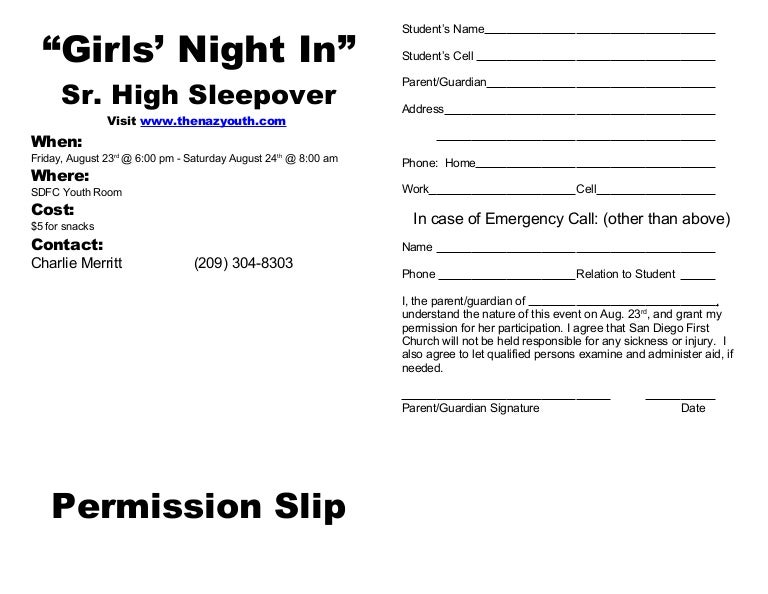 Sleepover Permission Slip