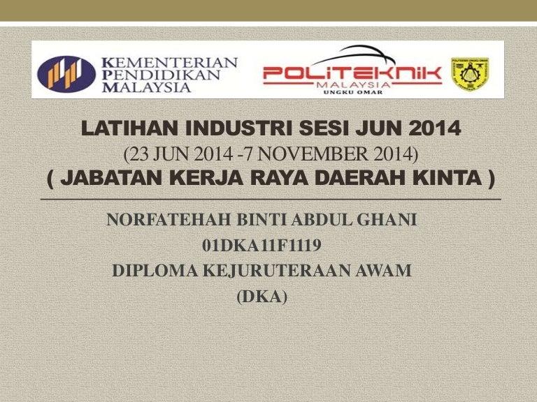 Contoh Slide Presentation Latihan Industri Kejuruteraan Awam