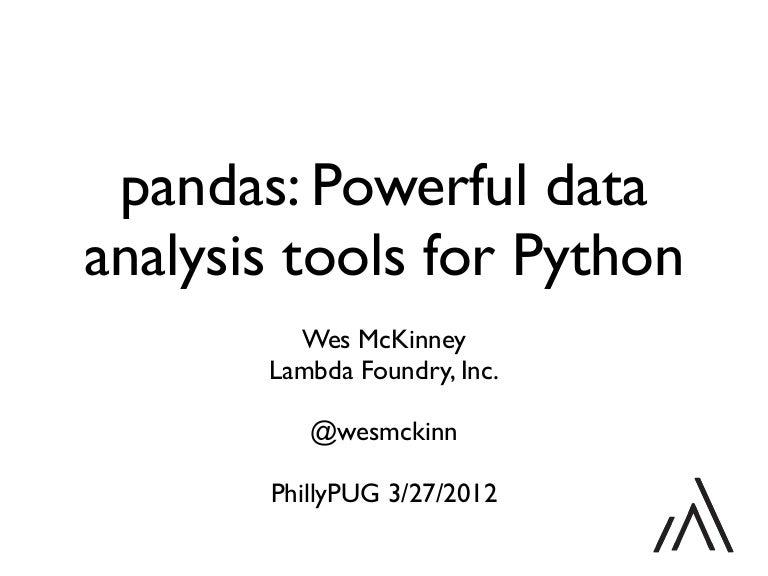 pandas: Powerful data analysis tools for Python