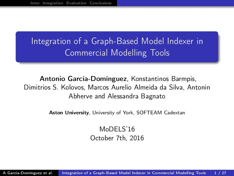models'16 presentation: integration of a graph-based model indexer in…, Presentation templates