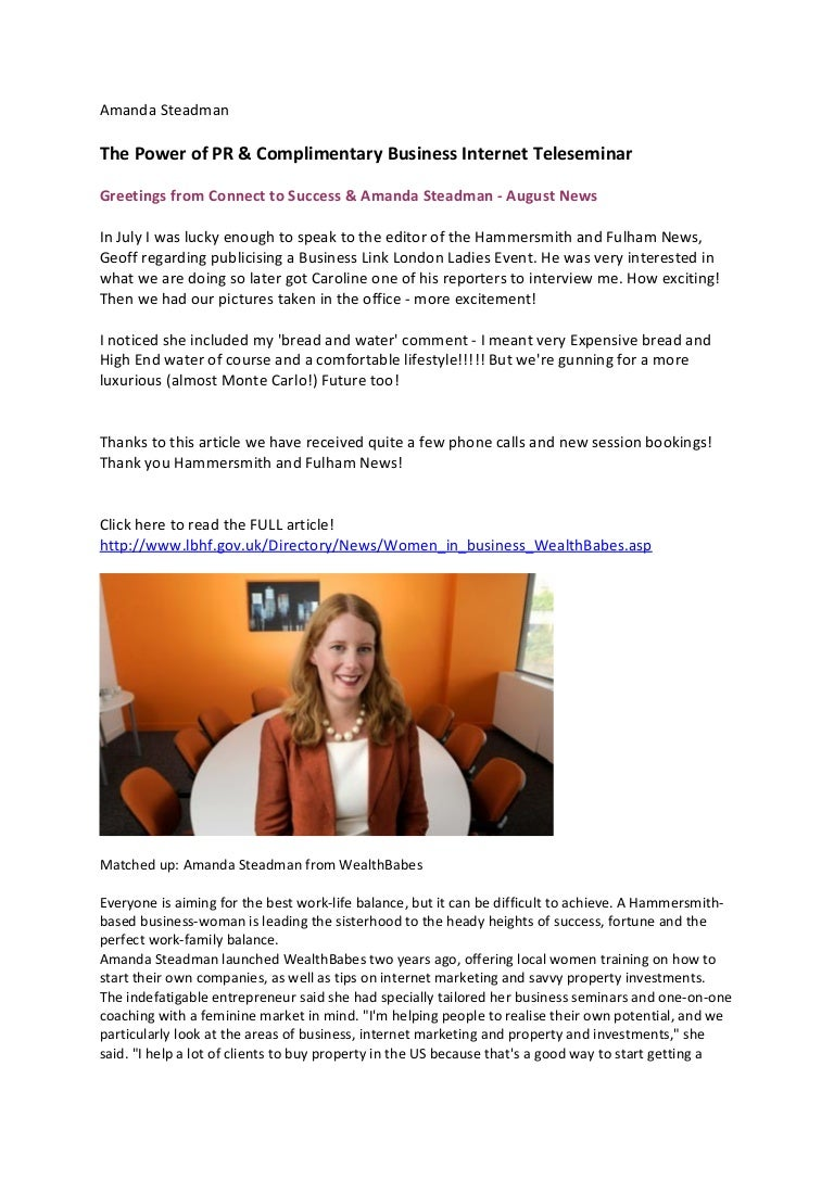 Amanda Steadman the power of pr & complimentary business internet