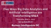 Five Ways Big Data Analytics and AI Are Transforming M&A - Business Intelligentsia DC Meetup