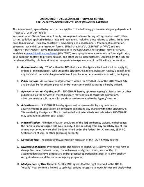 Slideshare Terms of Service (TOS) Amendment