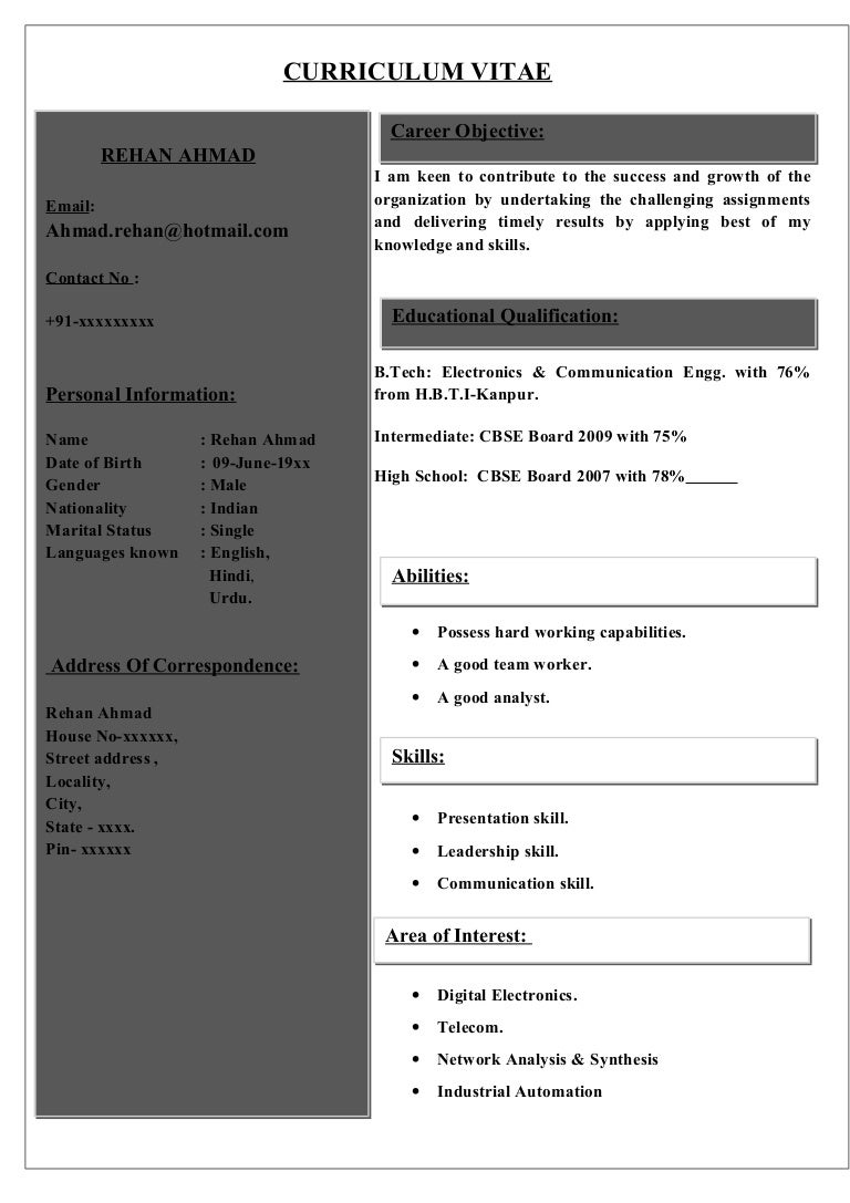 sample cv for electronics communications student