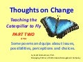 Teaching the Caterpillar to Fly - Ideas for Managing and Leading Change - Part Two of Three