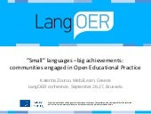 """Small"" languages –big achievements:  communities engaged in Open Educational Practice"