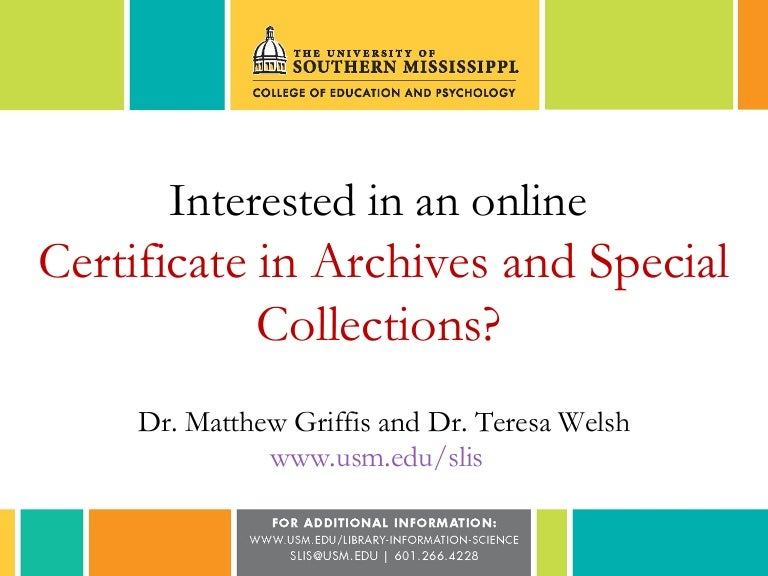 Interested In An Online Certificate In Archives And Special Collectio