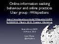 Online information seeking  behaviour and online practices  User group - Wikipedians