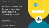 Six critical dimensions for widening online participation: a conceptual model