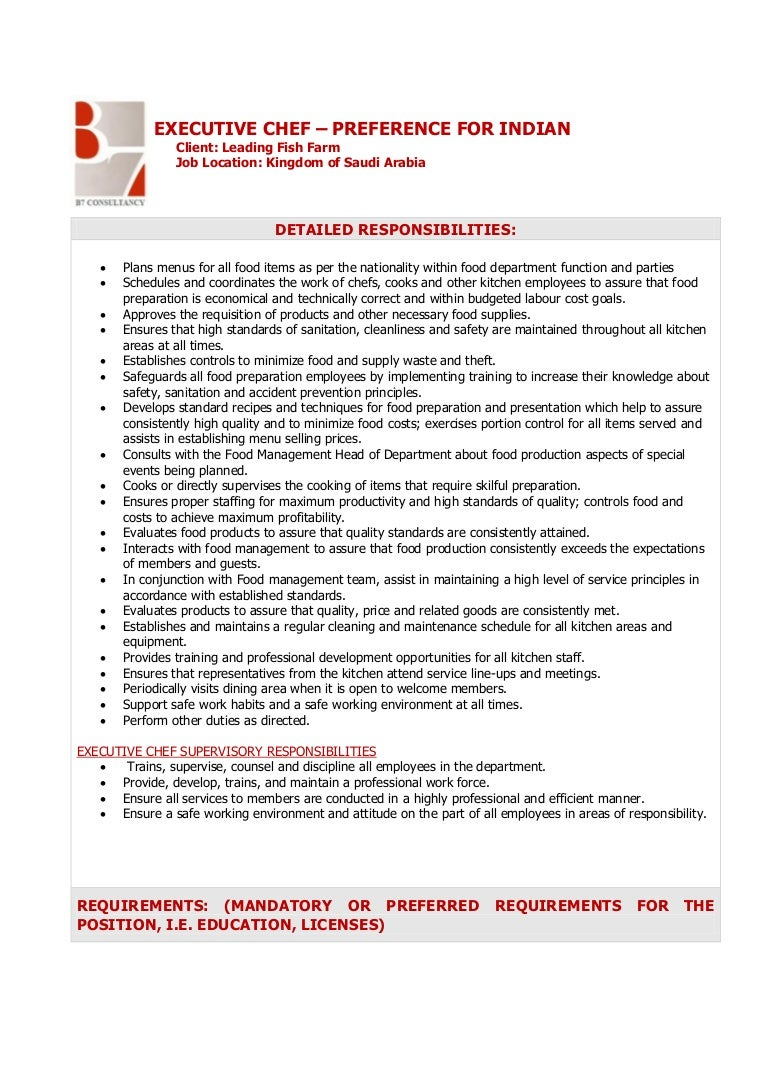 chef job description resume - Vatoz.atozdevelopment.co