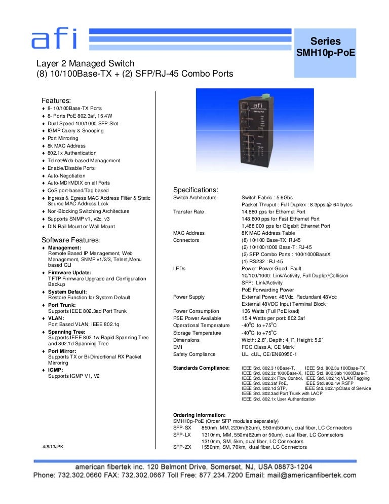 American Fibertek SM10P-POE Data Sheet
