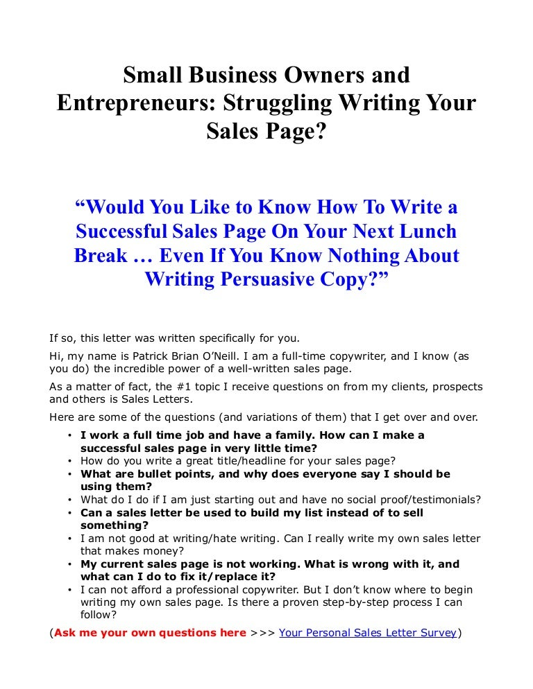 Small Business Owners And Entrepreneurs: Struggling Writing Your Sale…