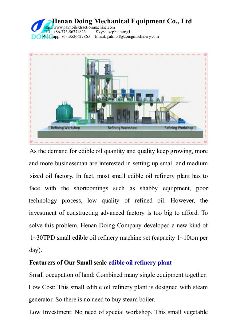 Cost Setting Up Edible Oil Plant